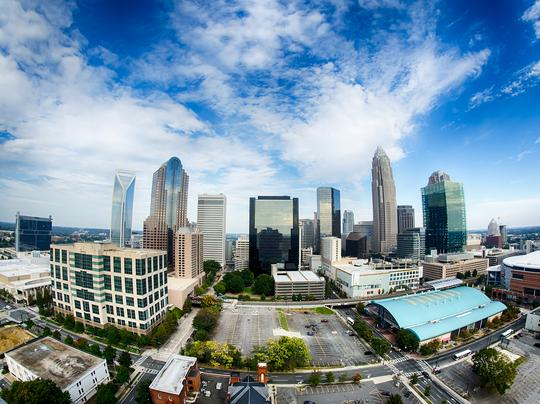 Charlotte, NC - City Skyline and Downtown