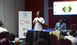 Michelle N. Samuel speaking to her Startup Huddle community in St. Lucia.